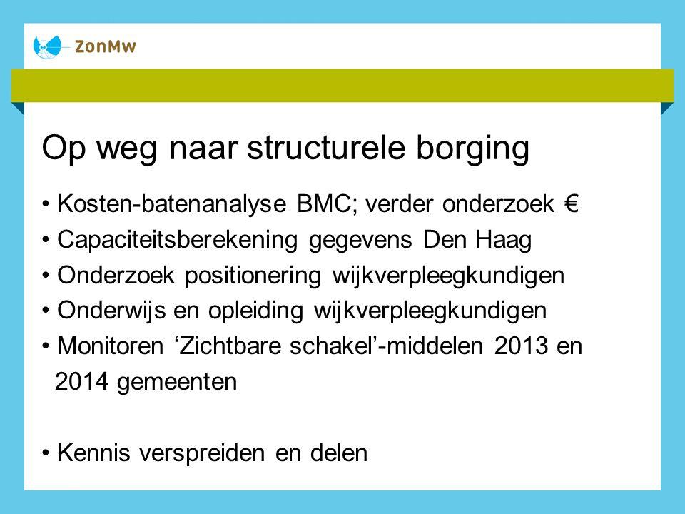 Op weg naar structurele borging Kosten-batenanalyse BMC; verder onderzoek € Capaciteitsberekening gegevens Den Haag Onderzoek positionering wijkverple