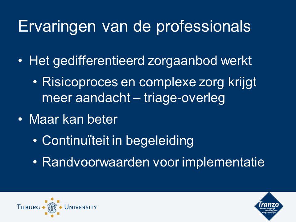 Het gedifferentieerd zorgaanbod werkt Risicoproces en complexe zorg krijgt meer aandacht – triage-overleg Maar kan beter Continuïteit in begeleiding Randvoorwaarden voor implementatie Ervaringen van de professionals