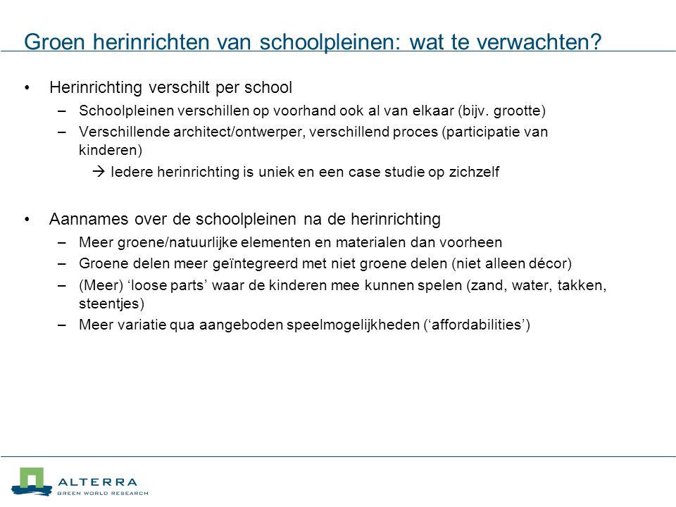 Groen herinrichten van schoolpleinen: wat te verwachten? Herinrichting verschilt per school –Schoolpleinen verschillen op voorhand ook al van elkaar (