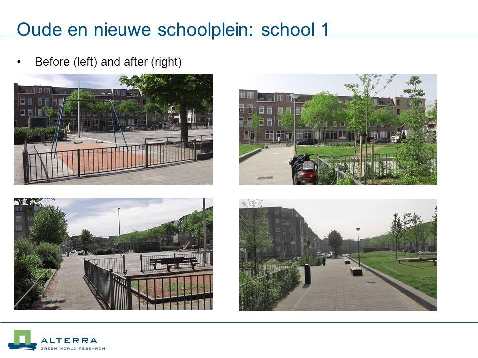 Oude en nieuwe schoolplein: school 1 Before (left) and after (right)