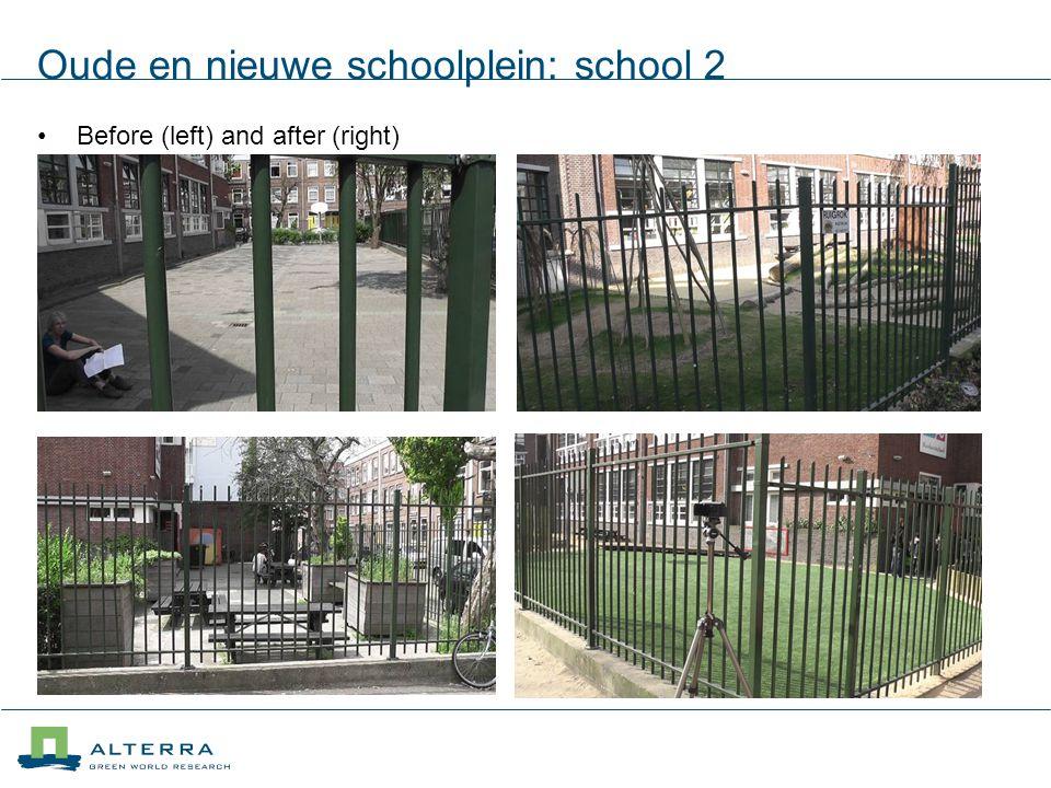 Oude en nieuwe schoolplein: school 2 Before (left) and after (right)