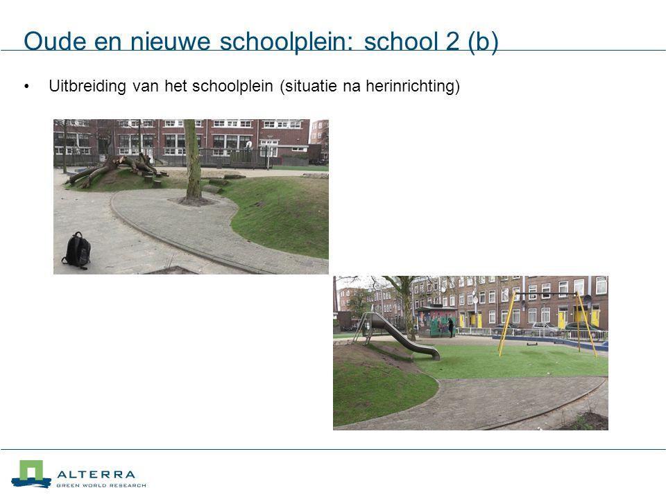 Oude en nieuwe schoolplein: school 2 (b) Uitbreiding van het schoolplein (situatie na herinrichting)