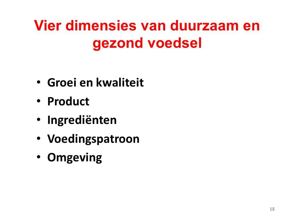 18 Vier dimensies van duurzaam en gezond voedsel Groei en kwaliteit Product Ingrediënten Voedingspatroon Omgeving