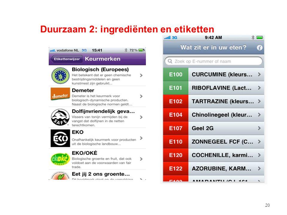 20 Duurzaam 2: ingrediënten en etiketten