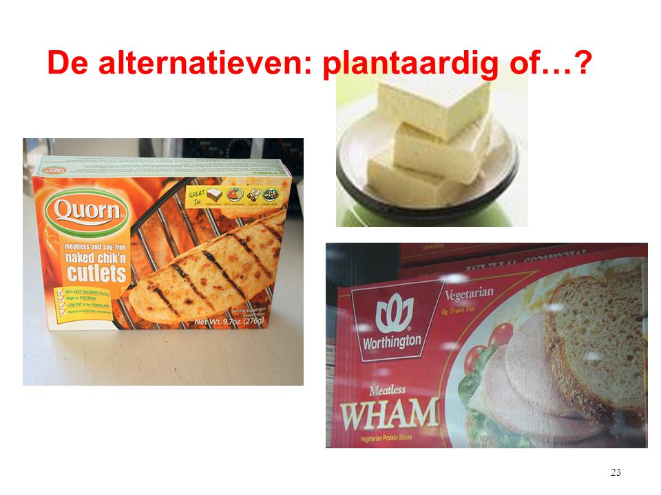 23 De alternatieven: plantaardig of…?