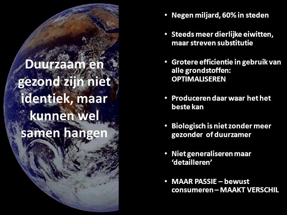 30 Duurzaam en gezond zijn niet identiek, maar kunnen wel samen hangen Negen miljard, 60% in steden Steeds meer dierlijke eiwitten, maar streven substitutie Grotere efficientie in gebruik van alle grondstoffen: OPTIMALISEREN Produceren daar waar het het beste kan Biologisch is niet zonder meer gezonder of duurzamer Niet generaliseren maar 'detailleren' MAAR PASSIE – bewust consumeren – MAAKT VERSCHIL
