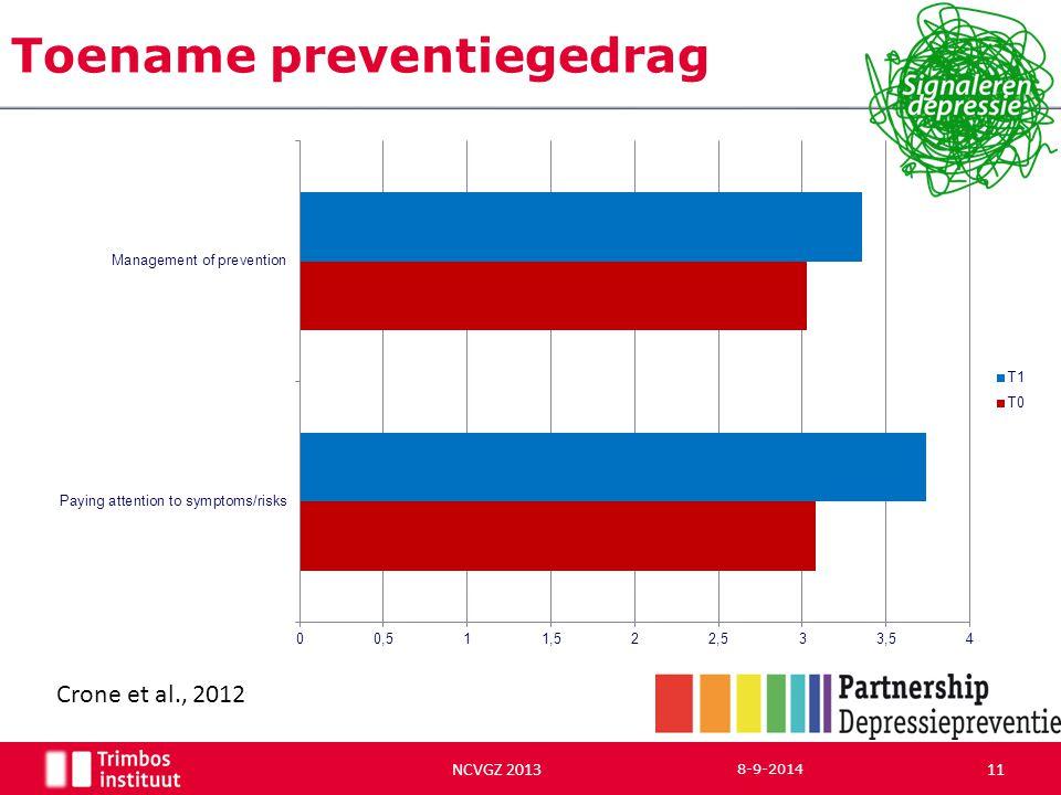 Toename preventiegedrag 8-9-2014 11 NCVGZ 2013 Crone et al., 2012