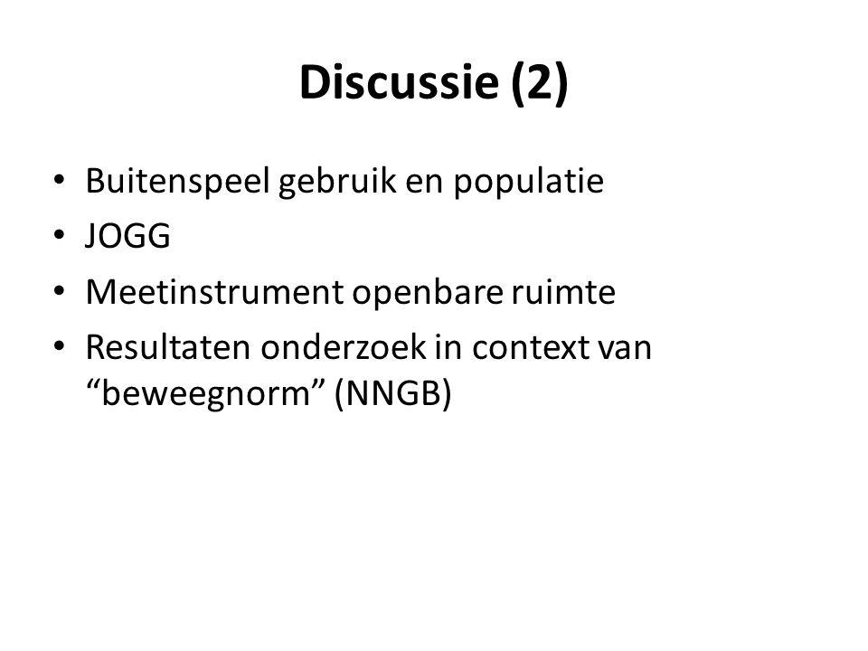 Discussie (2) Buitenspeel gebruik en populatie JOGG Meetinstrument openbare ruimte Resultaten onderzoek in context van beweegnorm (NNGB)