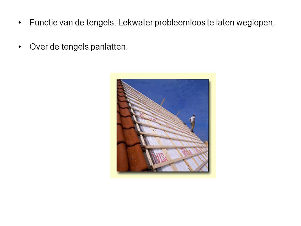 Functie van de tengels: Lekwater probleemloos te laten weglopen. Over de tengels panlatten.