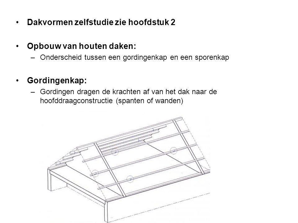 Dakvormen zelfstudie zie hoofdstuk 2 Opbouw van houten daken: –Onderscheid tussen een gordingenkap en een sporenkap Gordingenkap: –Gordingen dragen de