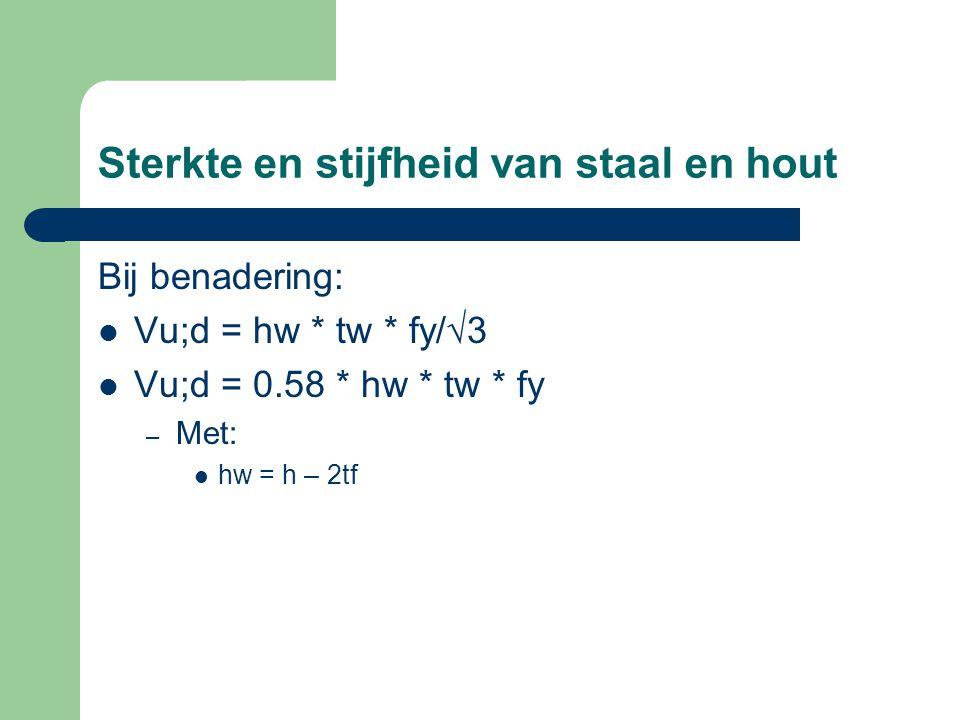 Sterkte en stijfheid van staal en hout Bij benadering: Vu;d = hw * tw * fy/√3 Vu;d = 0.58 * hw * tw * fy – Met: hw = h – 2tf