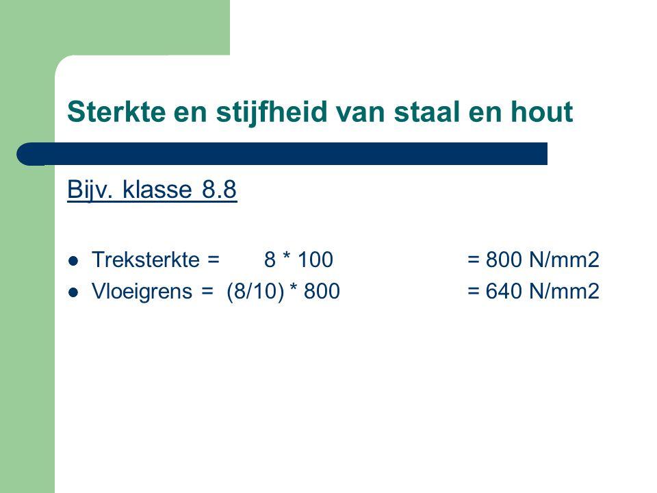 Sterkte en stijfheid van staal en hout Bijv. klasse 8.8 Treksterkte = 8 * 100 = 800 N/mm2 Vloeigrens = (8/10) * 800 = 640 N/mm2