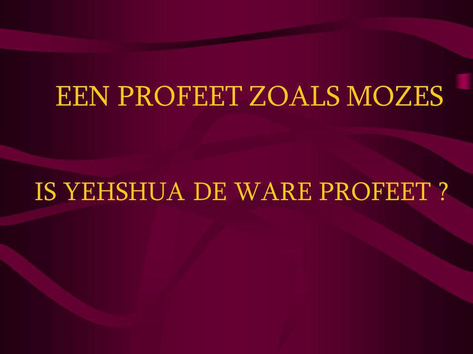 IS YEHSHUA DE WARE PROFEET ? EEN PROFEET ZOALS MOZES