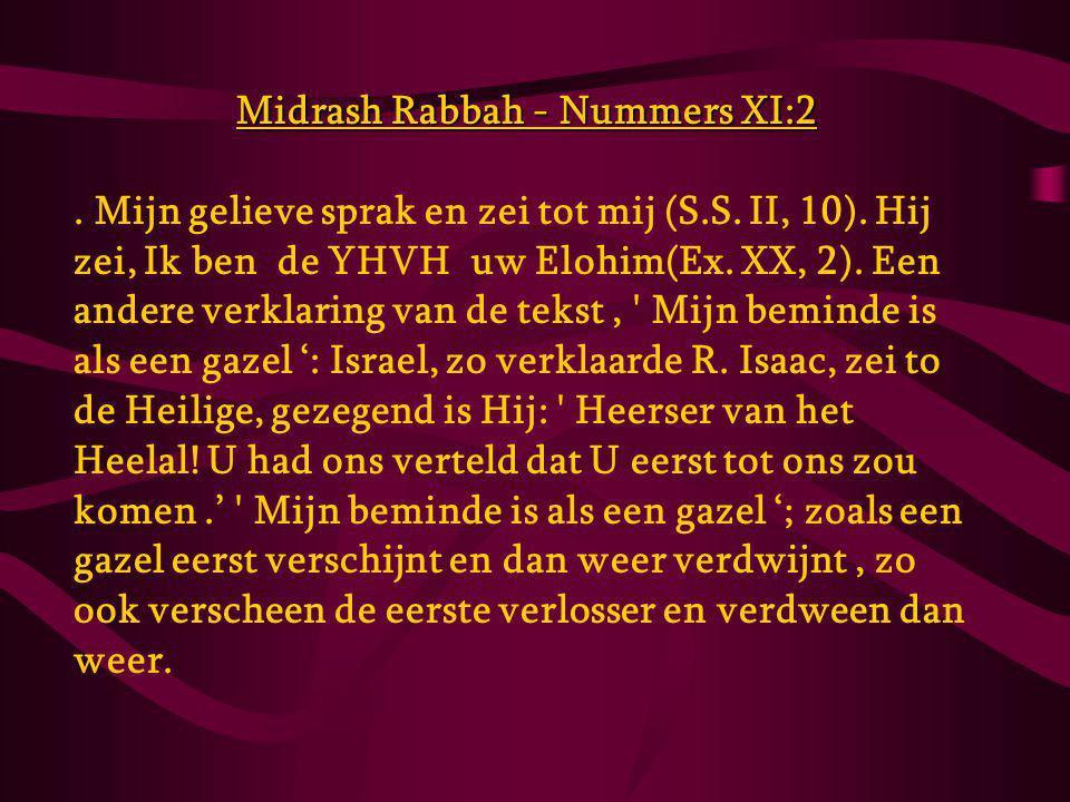 Midrash Rabbah - Nummers XI:2.Mijn gelieve sprak en zei tot mij (S.S.