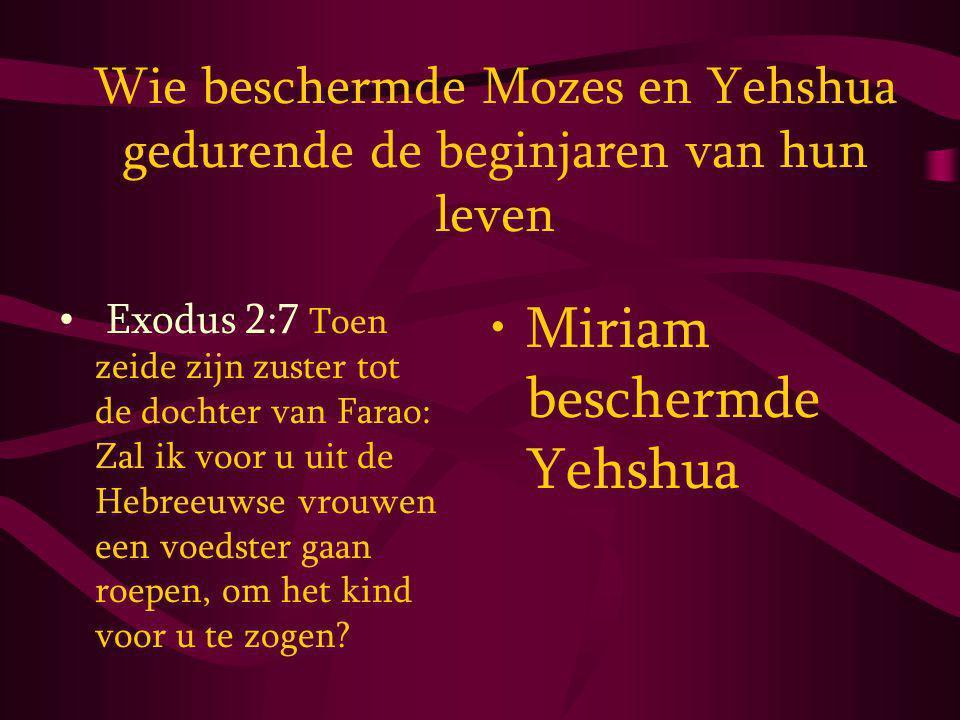 Wie beschermde Mozes en Yehshua gedurende de beginjaren van hun leven Exodus 2:7 Toen zeide zijn zuster tot de dochter van Farao: Zal ik voor u uit de Hebreeuwse vrouwen een voedster gaan roepen, om het kind voor u te zogen.