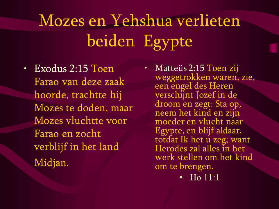 Mozes en Yehshua verlieten beiden Egypte Exodus 2:15 Toen Farao van deze zaak hoorde, trachtte hij Mozes te doden, maar Mozes vluchtte voor Farao en zocht verblijf in het land Midjan.