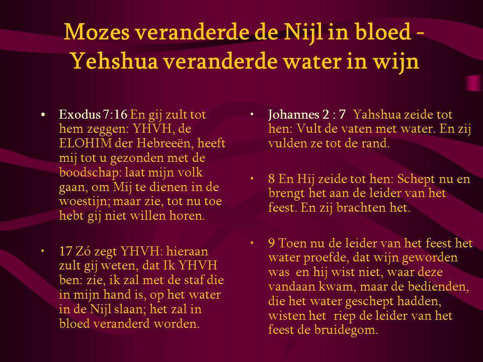 Mozes veranderde de Nijl in bloed - Yehshua veranderde water in wijn Exodus 7:16 En gij zult tot hem zeggen: YHVH, de ELOHIM der Hebreeën, heeft mij tot u gezonden met de boodschap: laat mijn volk gaan, om Mij te dienen in de woestijn; maar zie, tot nu toe hebt gij niet willen horen.
