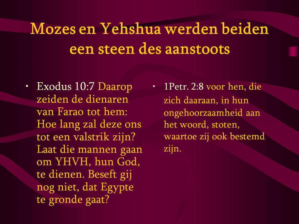 Mozes en Yehshua werden beiden een steen des aanstoots Exodus 10:7 Daarop zeiden de dienaren van Farao tot hem: Hoe lang zal deze ons tot een valstrik zijn.