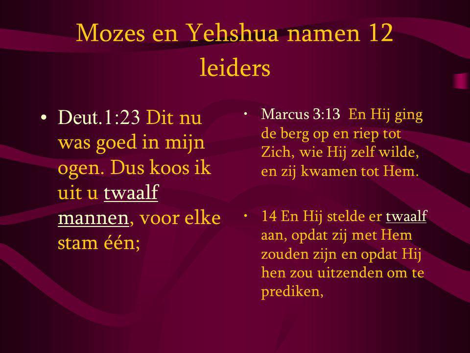 Mozes en Yehshua namen 12 leiders Deut.1:23 Dit nu was goed in mijn ogen.