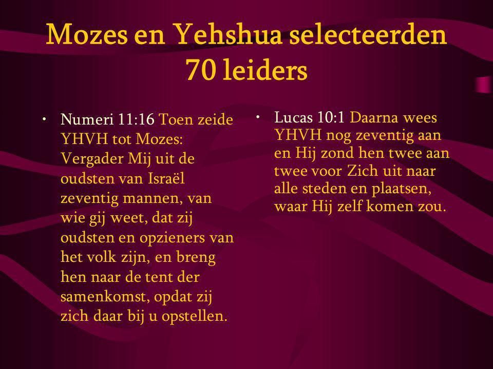 Mozes en Yehshua selecteerden 70 leiders Numeri 11:16 Toen zeide YHVH tot Mozes: Vergader Mij uit de oudsten van Israël zeventig mannen, van wie gij weet, dat zij oudsten en opzieners van het volk zijn, en breng hen naar de tent der samenkomst, opdat zij zich daar bij u opstellen.