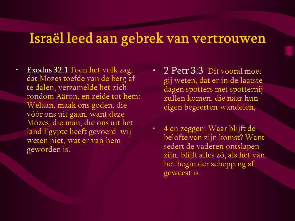 Israël leed aan gebrek van vertrouwen Exodus 32:1 Toen het volk zag, dat Mozes toefde van de berg af te dalen, verzamelde het zich rondom Aäron, en zeide tot hem: Welaan, maak ons goden, die vóór ons uit gaan, want deze Mozes, die man, die ons uit het land Egypte heeft gevoerd wij weten niet, wat er van hem geworden is.