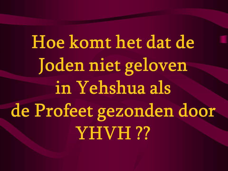 Hoe komt het dat de Joden niet geloven in Yehshua als de Profeet gezonden door YHVH ??