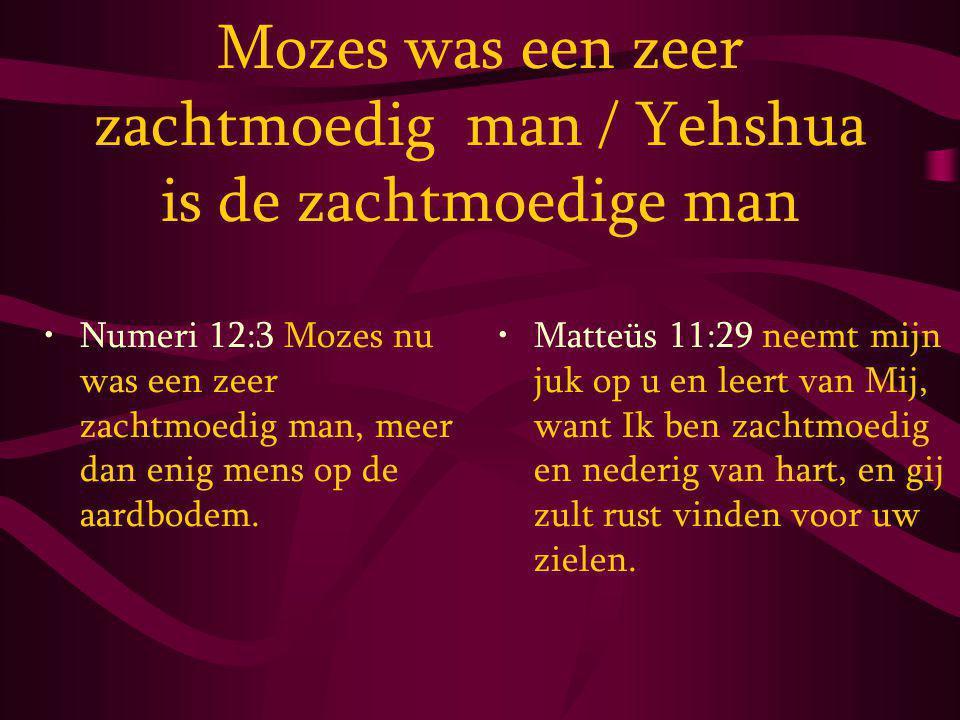 Mozes was een zeer zachtmoedig man / Yehshua is de zachtmoedige man Numeri 12:3 Mozes nu was een zeer zachtmoedig man, meer dan enig mens op de aardbodem.