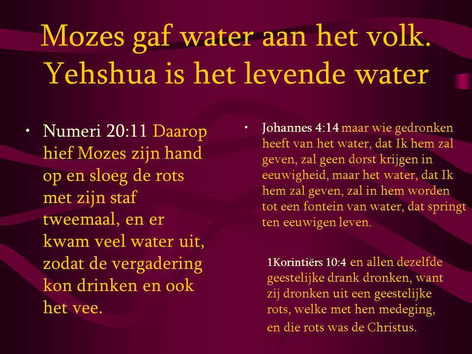 Mozes gaf water aan het volk.