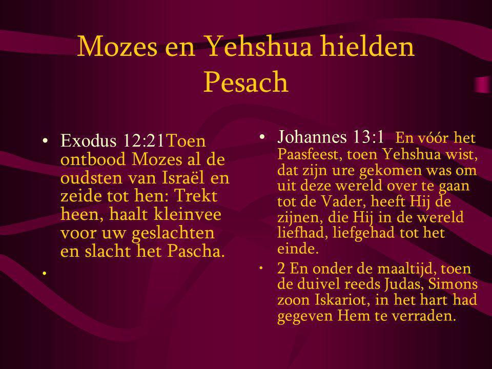 Mozes en Yehshua hielden Pesach Exodus 12:21 Toen ontbood Mozes al de oudsten van Israël en zeide tot hen: Trekt heen, haalt kleinvee voor uw geslachten en slacht het Pascha.