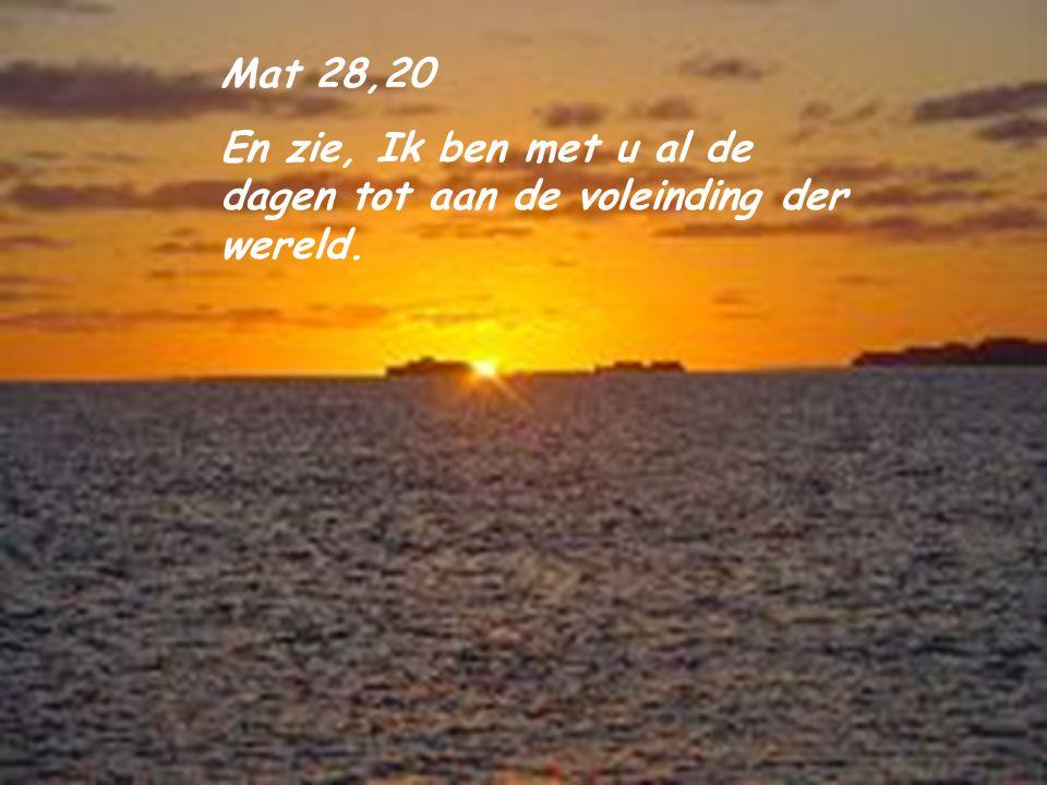 Joh 16,33 Dit heb Ik tot u gesproken, opdat gij in Mij vrede hebt. In de wereld lijdt gij verdrukking, maar houdt goede moed, Ik heb de wereld overwon