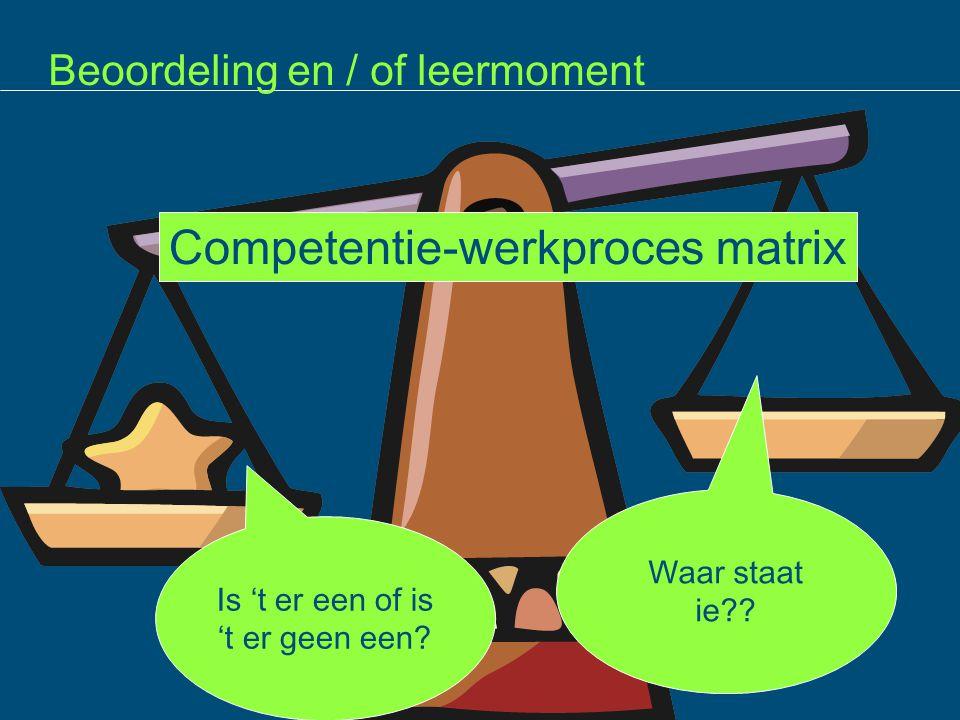 Beoordeling en / of leermoment ie Is 't er een of is 't er geen een? Waar staat ie?? Competentie-werkproces matrix