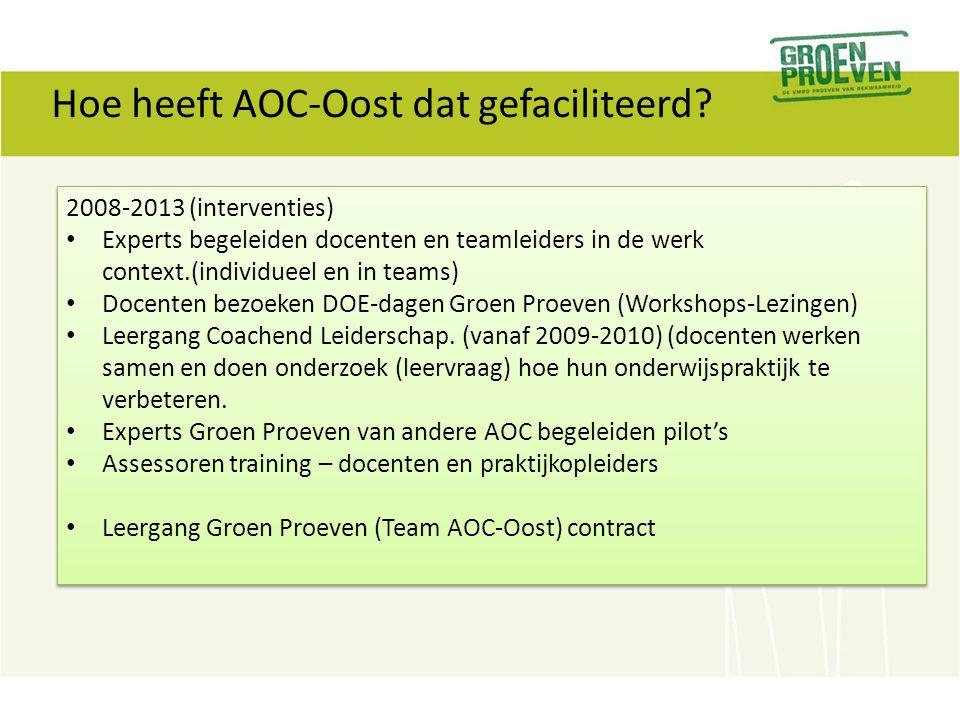 Hoe heeft AOC-Oost dat gefaciliteerd? 2008-2013 (interventies) Experts begeleiden docenten en teamleiders in de werk context.(individueel en in teams)