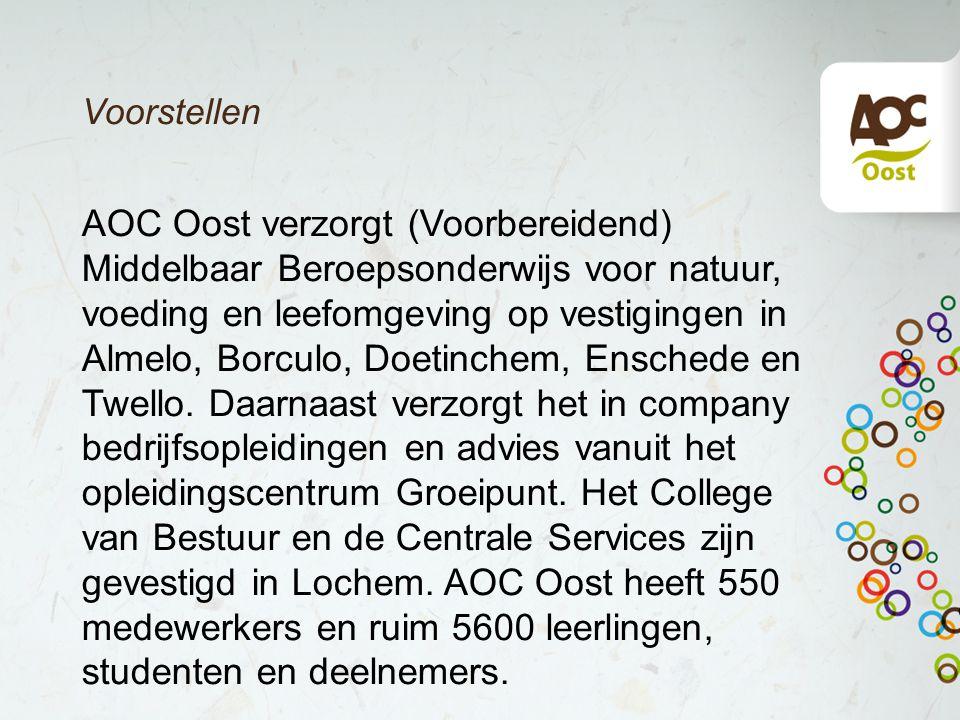 Voorstellen AOC Oost verzorgt (Voorbereidend) Middelbaar Beroepsonderwijs voor natuur, voeding en leefomgeving op vestigingen in Almelo, Borculo, Doet