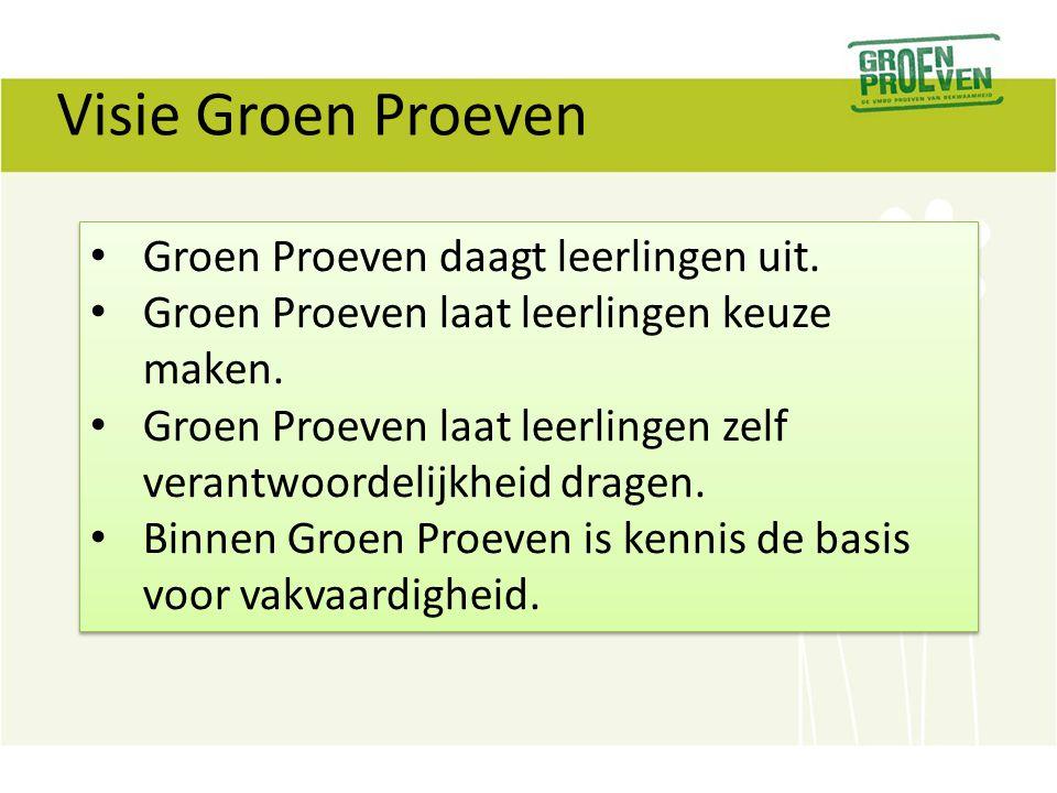 Visie Groen Proeven Groen Proeven daagt leerlingen uit. Groen Proeven laat leerlingen keuze maken. Groen Proeven laat leerlingen zelf verantwoordelijk