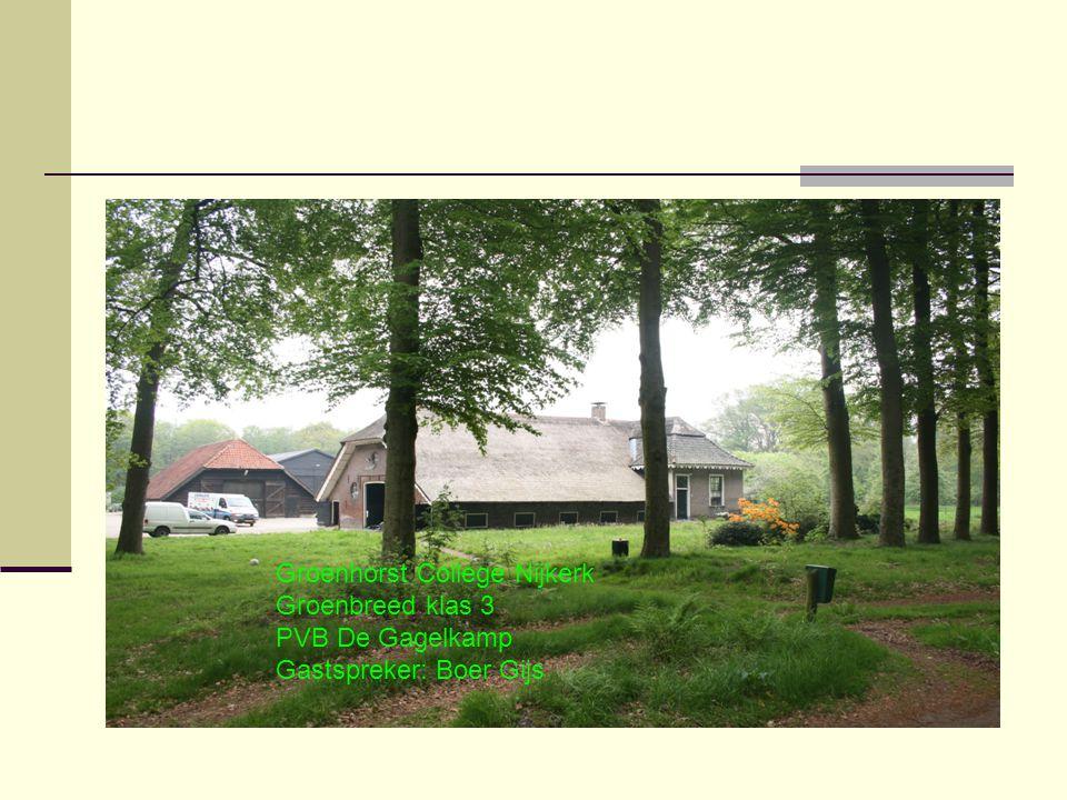 Groenhorst College Nijkerk Groenbreed klas 3 PVB De Gagelkamp Gastspreker: Boer Gijs