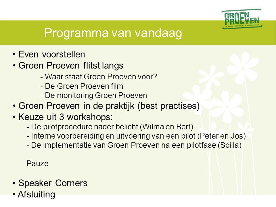 Programma van vandaag Even voorstellen Groen Proeven flitst langs - Waar staat Groen Proeven voor.