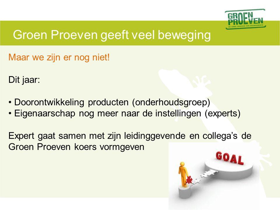 Groen Proeven geeft veel beweging Maar we zijn er nog niet.