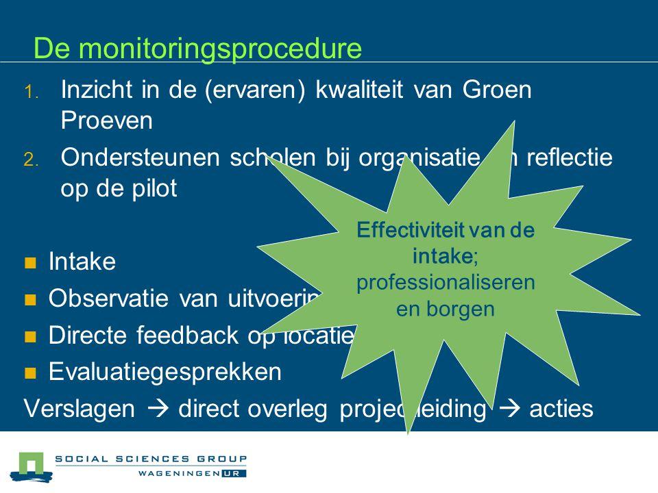 De monitoringsprocedure 1. Inzicht in de (ervaren) kwaliteit van Groen Proeven 2.