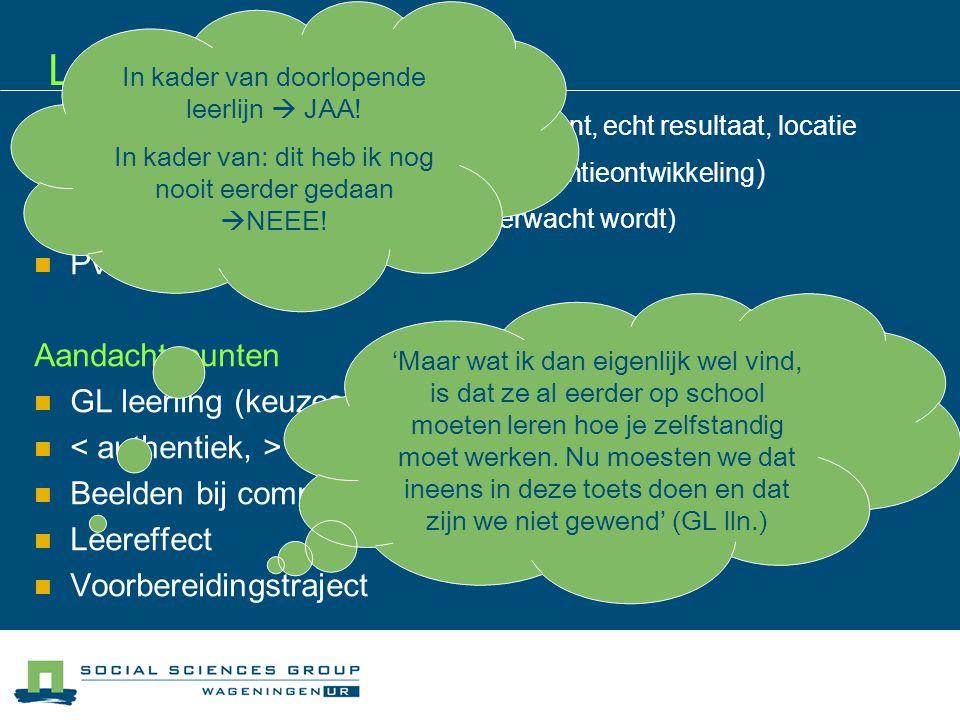 Uitvoerbaarheid Herhaalbaarheid ('we zijn het met elkaar eens') Niveau van de lln.