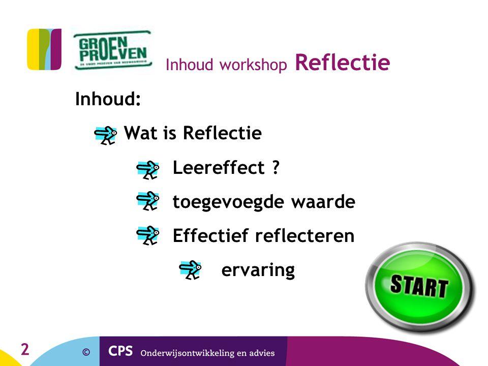 2 Inhoud workshop Reflectie Inhoud: Wat is Reflectie Leereffect ? toegevoegde waarde Effectief reflecteren ervaring