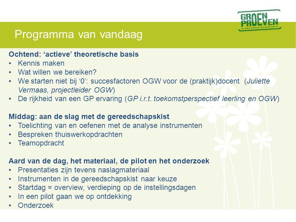 Programma van vandaag Ochtend: 'actieve' theoretische basis Kennis maken Wat willen we bereiken.