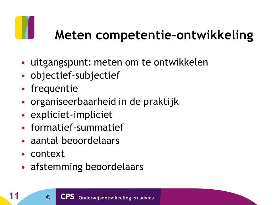 11 Meten competentie-ontwikkeling uitgangspunt: meten om te ontwikkelen objectief-subjectief frequentie organiseerbaarheid in de praktijk expliciet-im