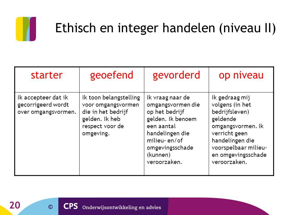 20 Ethisch en integer handelen (niveau II) startergeoefendgevorderdop niveau Ik accepteer dat ik gecorrigeerd wordt over omgangsvormen.