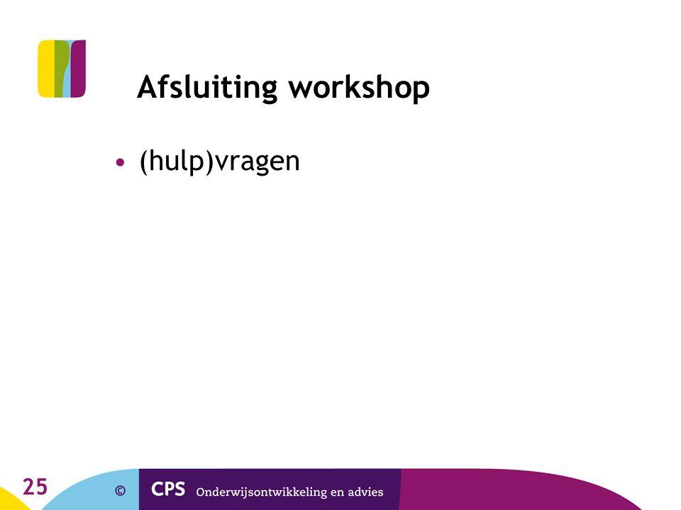 25 Afsluiting workshop (hulp)vragen