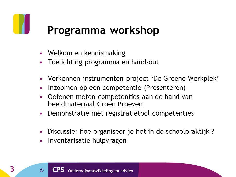 4 Hand-out workshop Artikel VGO (19): En nu doorzetten (2009) SHL-competenties (en componenten) 4Cyourway: streefniveaus VMBO 4Cyourway: referentiekader ('Ruggengraat') De Groene Werkplek: praktische instrumenten Matrix CGO in VMBO Groen Heldere verwervingstappen B, K en GT Registratiesysteem Intake instrument competenties Organisatie competentieleren (in PP)