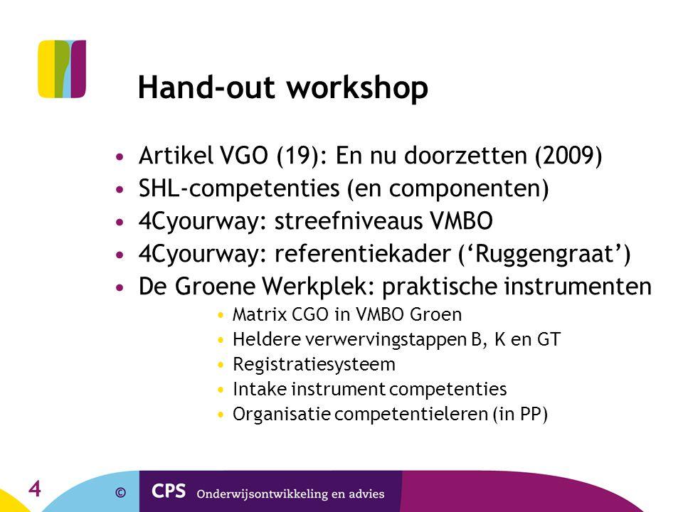 4 Hand-out workshop Artikel VGO (19): En nu doorzetten (2009) SHL-competenties (en componenten) 4Cyourway: streefniveaus VMBO 4Cyourway: referentiekad