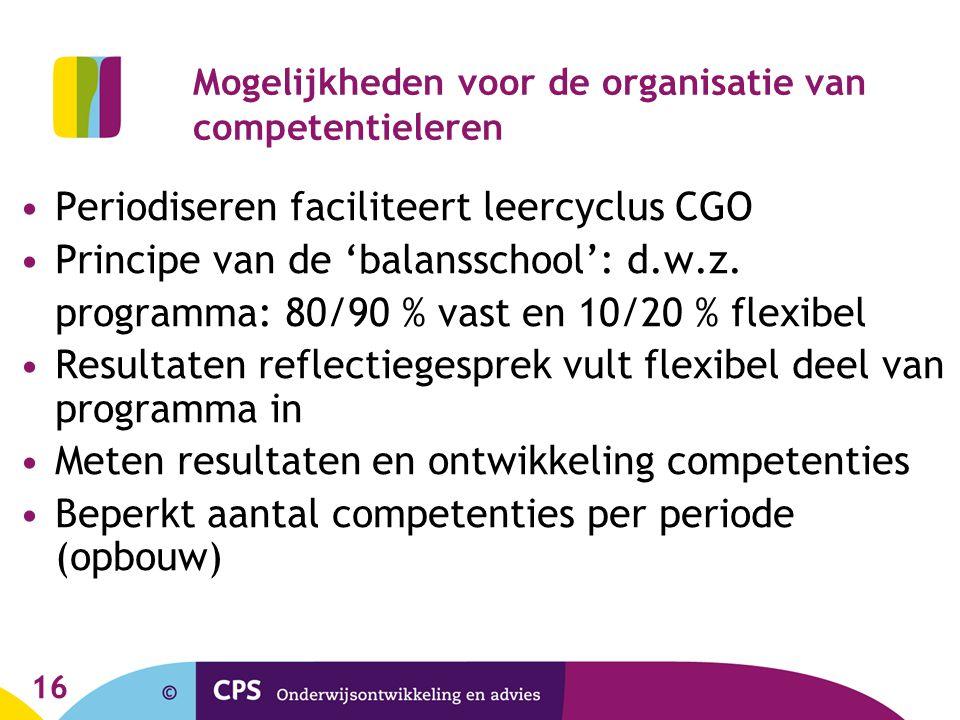 16 Mogelijkheden voor de organisatie van competentieleren Periodiseren faciliteert leercyclus CGO Principe van de 'balansschool': d.w.z. programma: 80