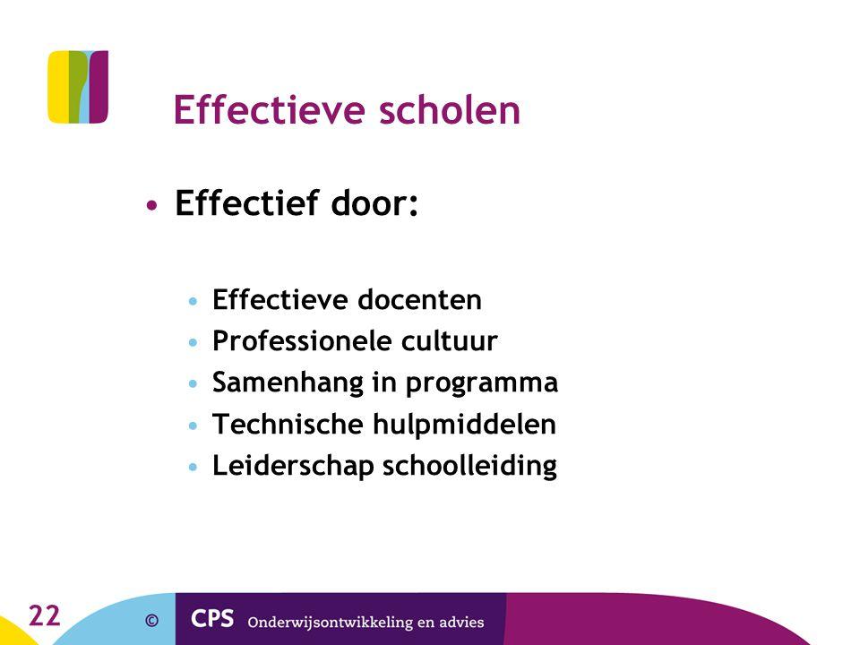 22 Effectieve scholen Effectief door: Effectieve docenten Professionele cultuur Samenhang in programma Technische hulpmiddelen Leiderschap schoolleidi