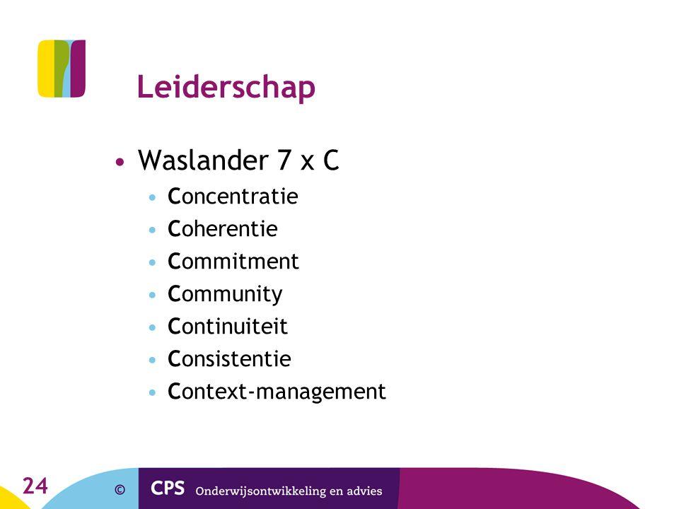 24 Leiderschap Waslander 7 x C Concentratie Coherentie Commitment Community Continuiteit Consistentie Context-management