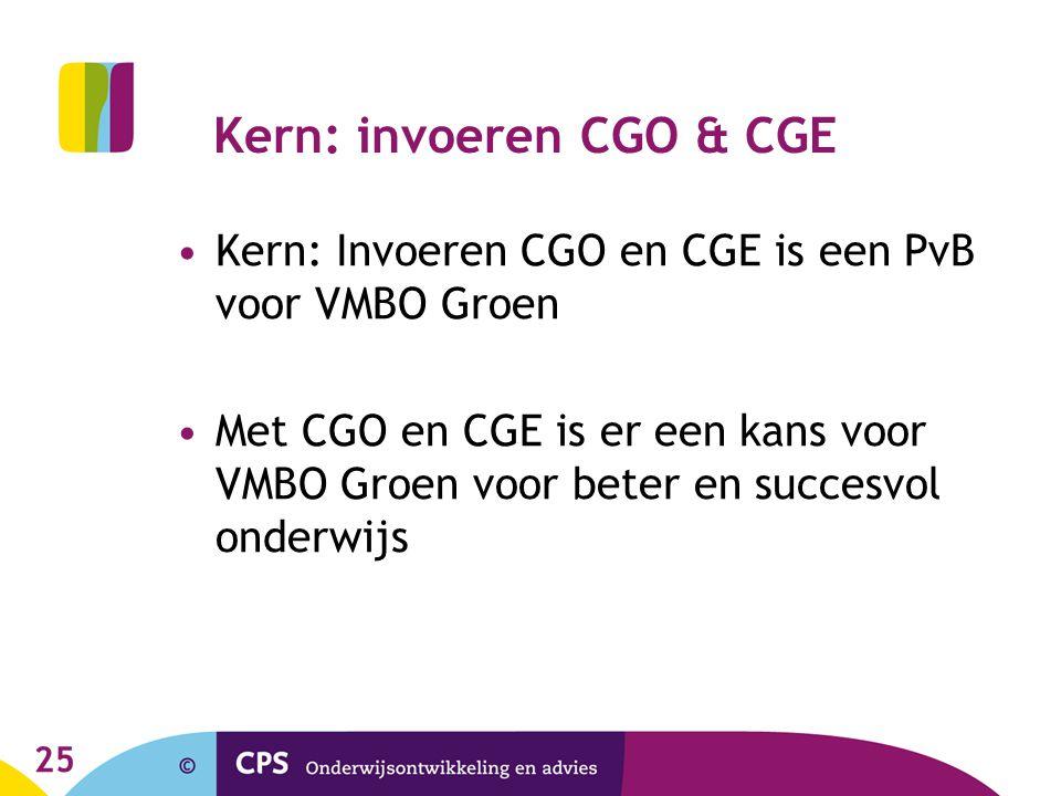 25 Kern: invoeren CGO & CGE Kern: Invoeren CGO en CGE is een PvB voor VMBO Groen Met CGO en CGE is er een kans voor VMBO Groen voor beter en succesvol